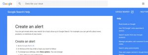 Google alert set up page